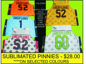 SUBLIMATED PINNIES COLOURS