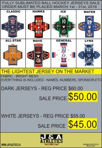 FULL SUBLIMATION BALL HOCKEY SALE